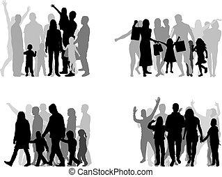 Siluetas familiares, un gran grupo de personas.