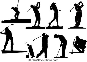 siluetas, golfista, ocho