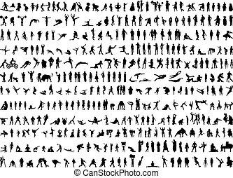 siluetas, humano, centenares