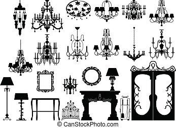 siluetas, iluminación, muebles