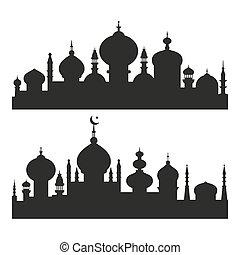 Siluetas islámicas de la ciudad