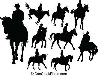 siluetas, jinete caballo