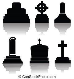 siluetas, lápida, conjunto