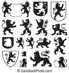 siluetas, leones, heráldico