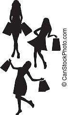 Siluetas mujeres de compras