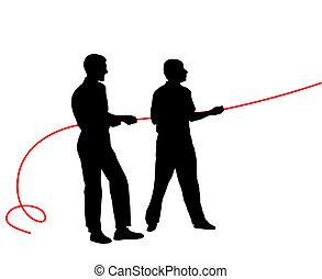 ¿Siluetas negras de gente tirando de la cuerda? Ilustración del vector.