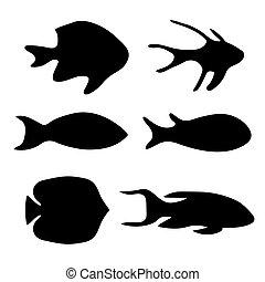 Siluetas negras de ilustración de vectores de pescado