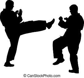 Siluetas negras de karate. Ilustración de vectores deportivos.