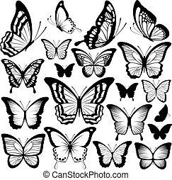 Siluetas negras de mariposa