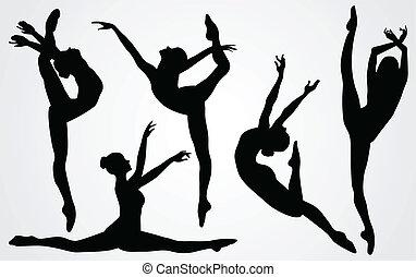 Siluetas negras de una bailarina