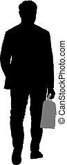 Siluetas negras hombre con un maletín sobre fondo blanco. Ilustración de vectores