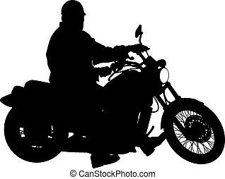 Siluetas negras Motocross en motocicleta. Vector Ilust