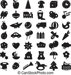 siluetas, negro, juguetes