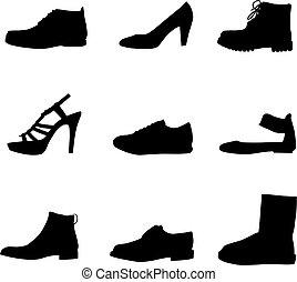 siluetas, negro, shoes