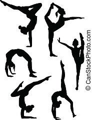 siluetas, niñas, gimnastas