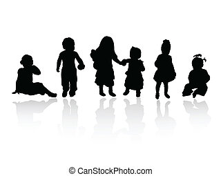 siluetas, -, niños