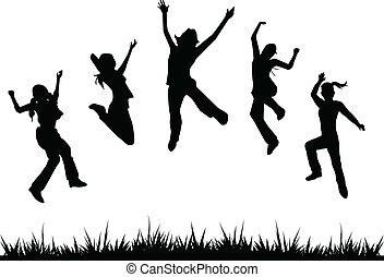 Siluetas, niños saltando
