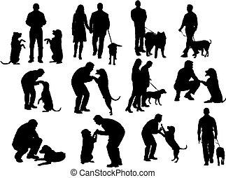 siluetas, perro, gente