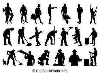 siluetas, personas., vector, ilustración, trabajando