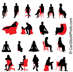 siluetas, sentado, gente