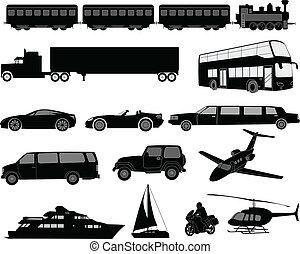 siluetas, transporte