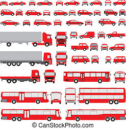 Siluetas variadas de vehículos