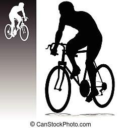 siluetas, vector, ciclismo, hombre