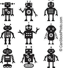 siluetas, vector, conjunto, robot