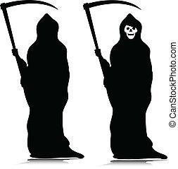 siluetas, vector, grim reaper