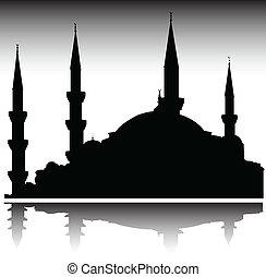 siluetas, vector, mezquita