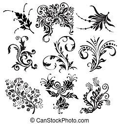 siluetas, vector, ornamento, flor
