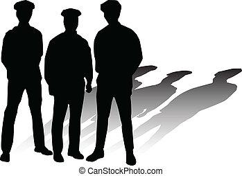 siluetas, vector, policía