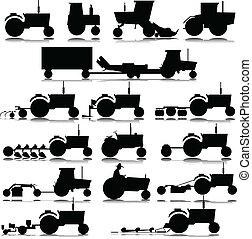 siluetas, vector, tractor