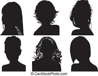siluetas, womens, cabezas
