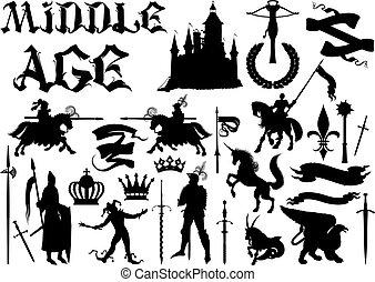 Siluetas y iconos en el tema medieval