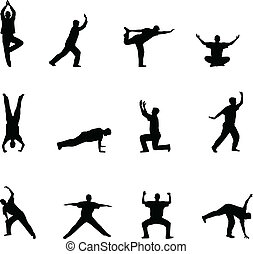siluetas, yoga, ejercicio