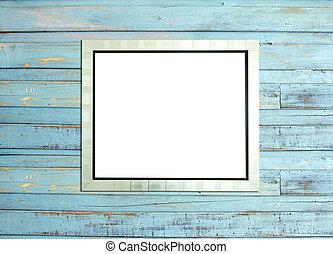 Silve vintage fotograma de madera azul