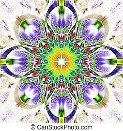simétrico, -, brillante, rhi, patrón, fractal, colección, strips.