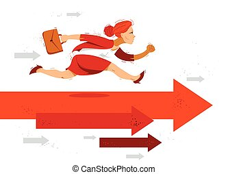 simboliza, motivación, mujer de negocios, apuro, competición, success., lindo, flechas, cómico, o, vector, carrera del negocio, corra, divertido, ilustración, trabajador, empleado, mujer, caricatura, prisa
