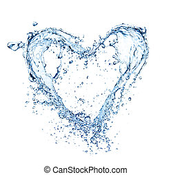 Simbolo cardíaco hecho de salpicaduras de agua, aislado en la ronda blanca