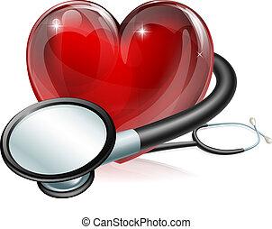 Simbolo cardíaco y estetoscopio