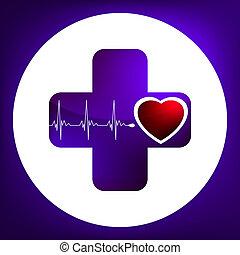 Simbolo cardíaco y latido. EPS 8