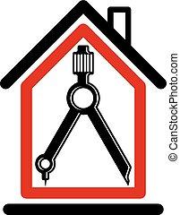 Simbolo conceptual de diseño arquitectónico, icono vectorial simple con brújula. Diseño de elementos gráficos de construcción, proyecto de construcción o borrador, equipo de ingenieros.