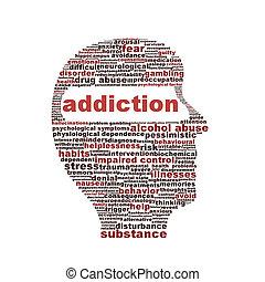 Simbolo de adicción aislado en el fondo blanco