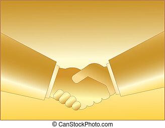 Simbolo de apretón de manos de oro