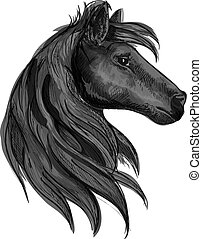 Simbolo de caballo de raza negra