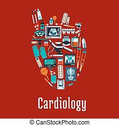 Simbolo de cardiología con silueta plana de un corazón
