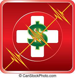Simbolo de costo médico de primera ayuda