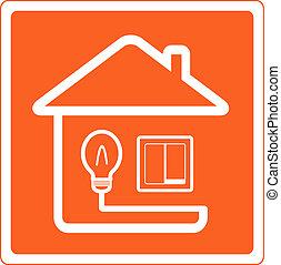 Simbolo de electricidad en la casa