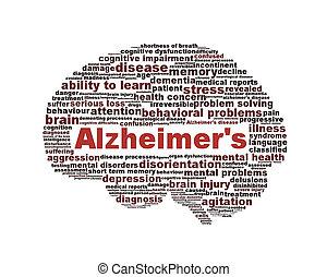 Simbolo de enfermedad de Alzheimer aislado en blanco